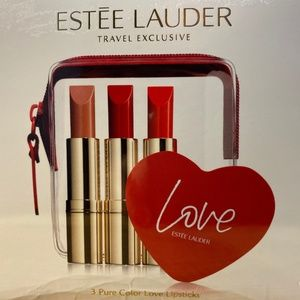 Estee Lauder 3 Lipstick Travel Set With Bag Mirrow